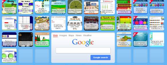 Symbaloo Resource Page with lots of interactive math resources.